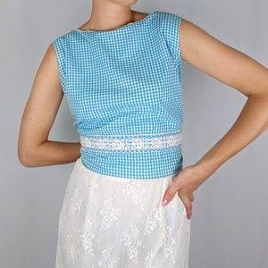 60's gingham blouse